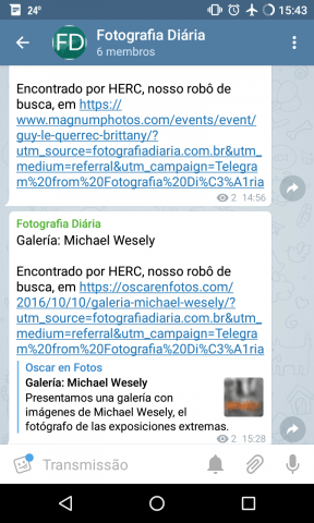 Tela do canal do site Fotografia Diária no Telegram